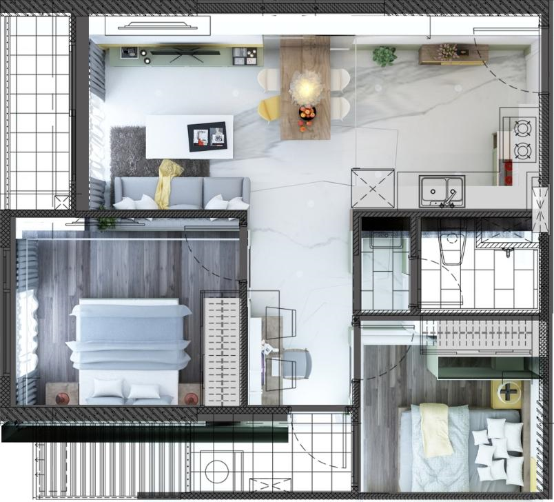 chung cư 2pn layout