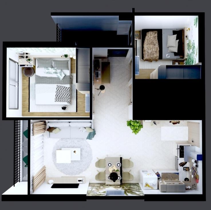 layout chung cư 2pn